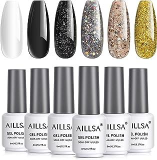 AILLSA Glitter Black Gold White Silver Sparkle Gel Nail Polish Set, 6 Colors Rose Glitter Gel Polish Kit, Soak Off LED Lam...