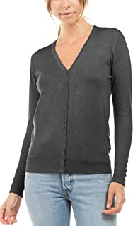 CIELO Women's Regular Solid Long Sleeve Cardigan with Decorative Buttons