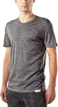 Woolly Clothing Men's Merino Wool Crew Neck Tee Shirt - Everyday Weight - Wicking Breathable Anti-Odor