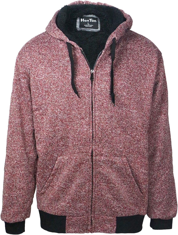 LeeHanTon Mens Hoodies Zipper Sherpa Lined Heavyweight Workout Winter Sweatshirt Jackets