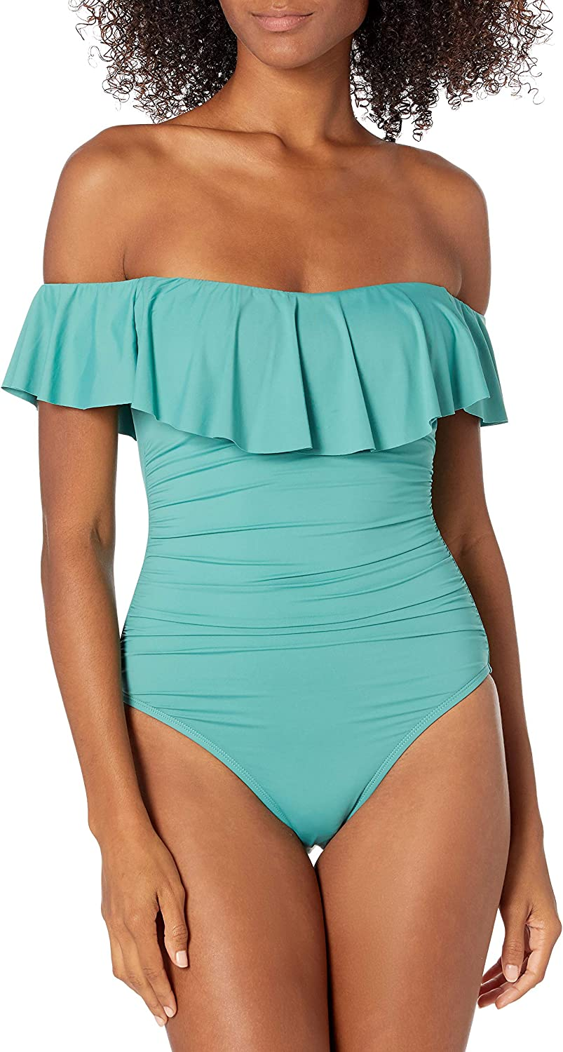 Daily bargain sale La Blanca Today's only Women's Island Goddess Off Piece Ruffle S One Shoulder