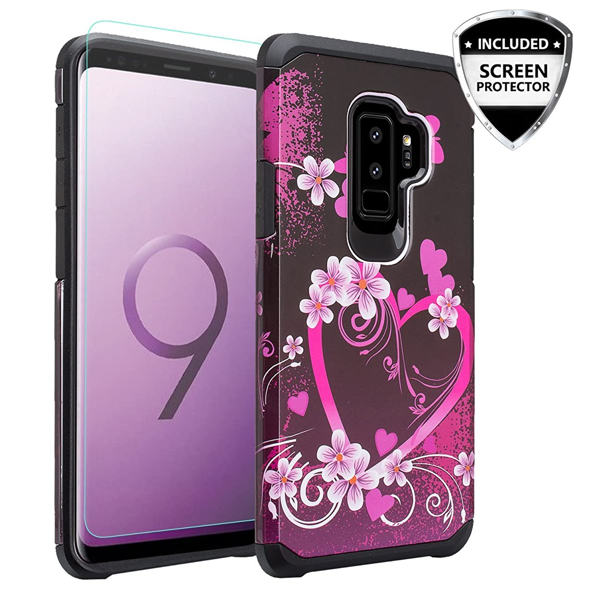 for Samsung Galaxy S9 Plus Heavy Duty Defender Shock Absorbent Dual Layer Protective Hybrid Fashion Case [HD Screen Protector] (Big Pink Heart)