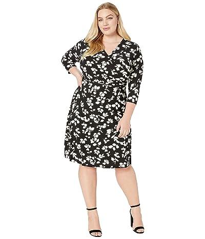 LAUREN Ralph Lauren Plus Size Finchlina Shadow Leaves Dress (Black/Colonial Cream) Women