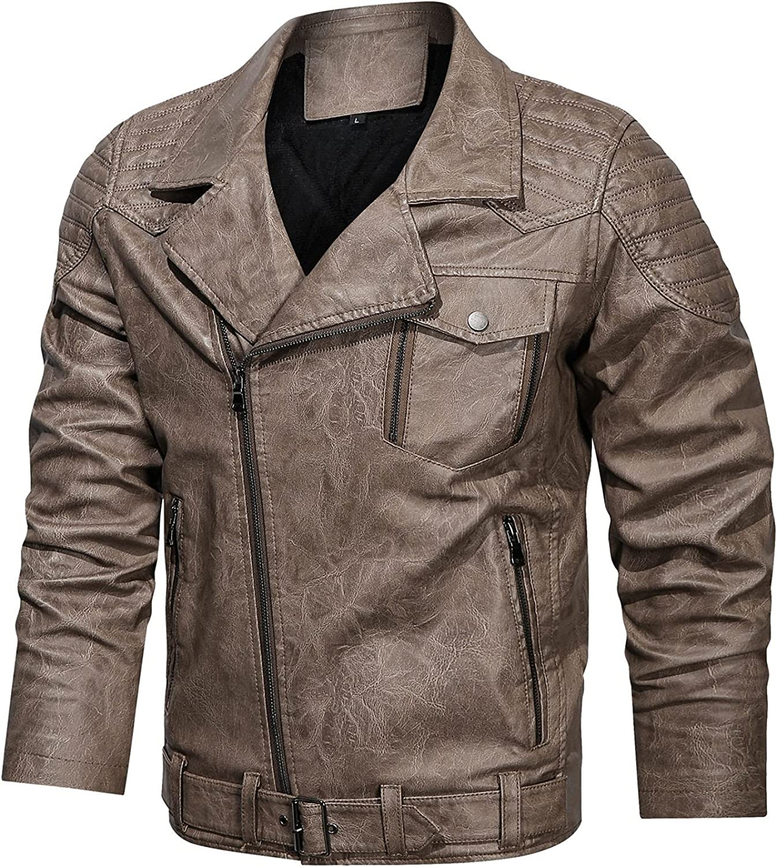 Mens Slim Fit Vintage Full Zip Distressed Faux Leather Moto Jacket Leather Jacket Vintage Biker Coat