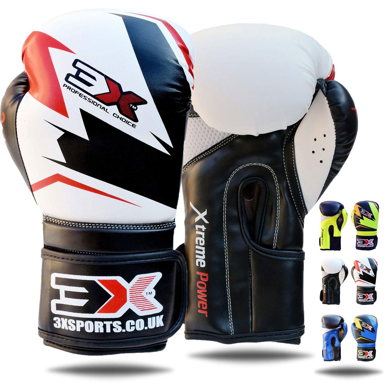 3X Professional Choice Guantes de Boxeo Cuero de Maya Cuero Muay Thai Saco de Boxeo Mitones Kickboxing Entrenamiento de Artes Marciales: Amazon.es: Deportes y aire libre