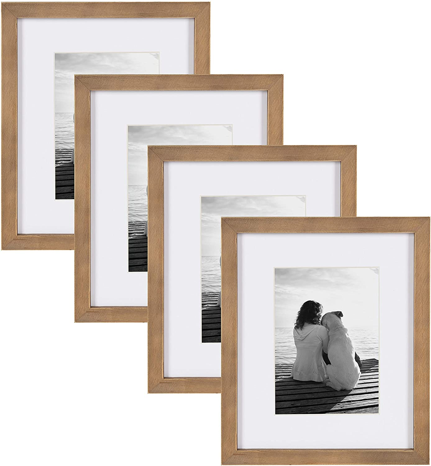 DesignOvation Gallery 8x10 matted to 5x7 Wood Picture Frame, Set of 4, Rustic Brown, 4 Count