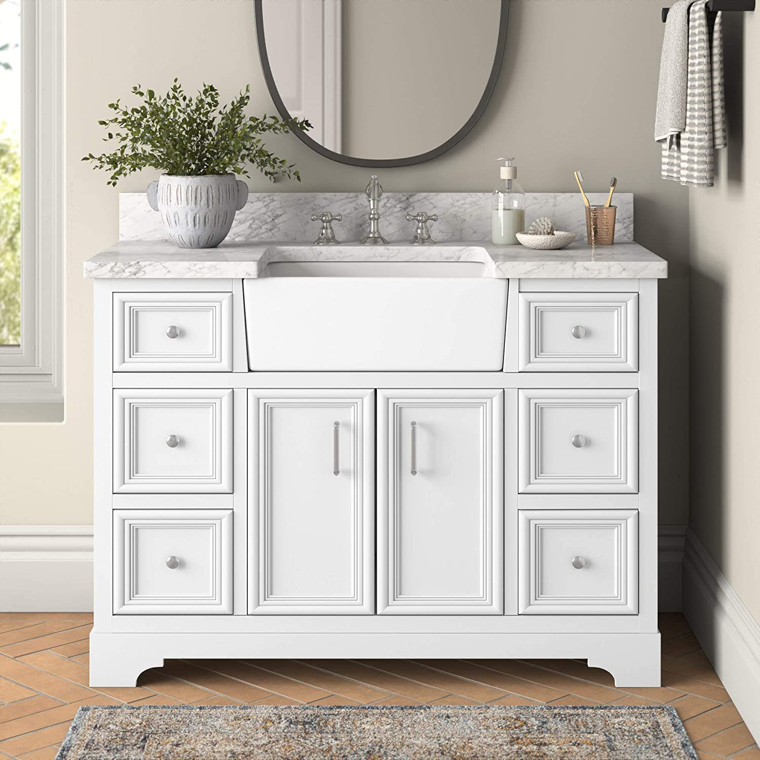 Buy Zelda 48 Inch Bathroom Vanity Carrara White Includes White Cabinet With Authentic Italian Carrara Marble Countertop And White Ceramic Farmhouse Apron Sink Online In Turkey B07b29kzlg