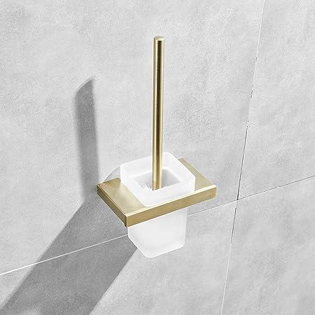 Brosse WC Murale,NEWRAIN Brosse Toilettes WC avec Support Mural Brosse WC Acier Inoxydable Finition Polie Support Inoxydable Récipient en Verre Dépoli Pose Murale Doré