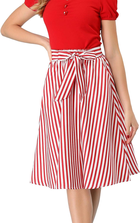 Allegra K Women's Vertical Striped 1950s Vintage Belted A-Line Midi Skirt with Pocket