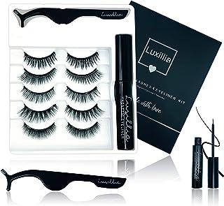 Luxillia Magnetic Eyeliner and Lashes Kit, No Glue Reusable 5D False Eye Lash, Magnetic Eyelashes Set with Most Natural Look, Best Quality Eyelash Magnet, Waterproof Liquid Eye Liner, Free Tweezers