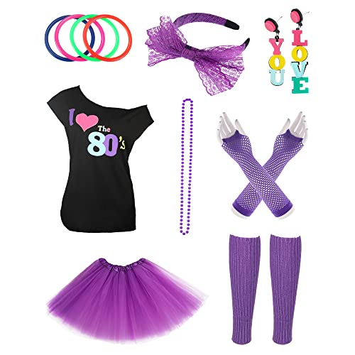 16ca2f64b86 Jetec 80s Costume Accessories Set I Love 80s Skirt Necklace Bangle Leg  Warmers Earrings Gloves T