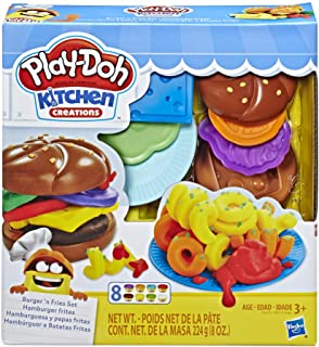 Play-Doh Kitchen Creations Burger and Fries Set with 8 Non-Toxic Colors