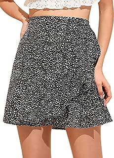 WDIRARA Mini Falda con Volantes en la Rodilla para Mujer, Casual, con Lunares