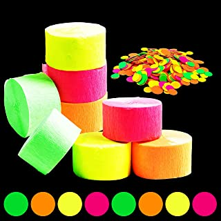 WATINC 784ft Neon Streamers, Neon Crepe Paper and Circle Dots Confetti for Birthday Party Wedding Glow in The Dark Party D...