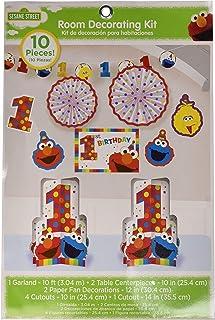 amscan 241835 Sesame Street Elmo Turns One Room Decorating Kit, Birthday, 10ct , Brown