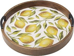 Gourmet Basics by Mikasa Round Lemon Mango Wood Lazy Susan, 16-Inch, Assorted