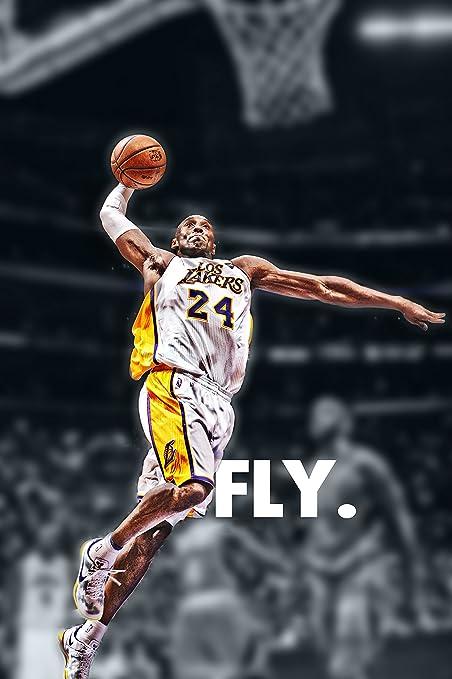 No Frame Kobe Dunks Super Basketball MVP Poster Print