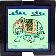 IndiCart Wooden Antique Handmade Creative Hand Painted Square Tea Coffee Coaster, Set of 6, Green with Artistic Design Holder