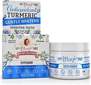 My Magic Mud - Turmeric Tooth Powder, Polishes, Soothes Gums & Mouth, Peppermint, 1.41 oz. (150 uses)