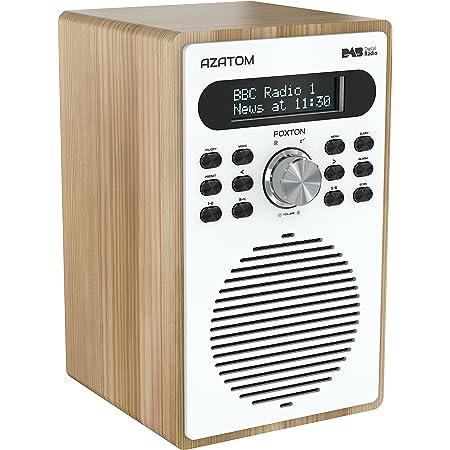 Azatom Foxton DAB/DAB+ Digital FM Radio/Alarm Clock/Wood Effect/Headphone socket/Mains powered (Oak)