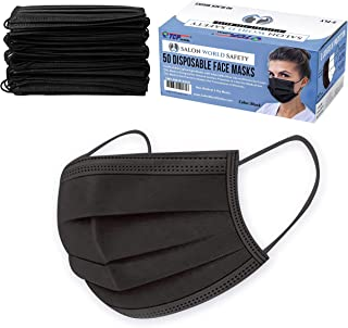 TCP Global Salon World Safety - Sealed Dispenser Box of 50 Black Face Masks Breathable Disposable 3-Ply Protective PPE with Nose Clip and Ear Loops