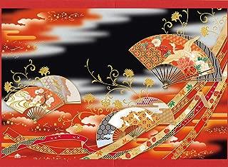 SAAN30-1870 春節カード/むねかた 金箔 「扇ちらし」(中紙・封筒付) 台紙付き