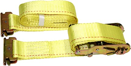 """DKG 2"""" x 12' E Track Ratchet Straps – Ideal Enclosed Trailer Tie Down & Dry Van Cargo Straps – Standard E Track Spring Fittings or Connectors – Heavy Duty Steel Ratchet & Polyester Webbing (8)"""