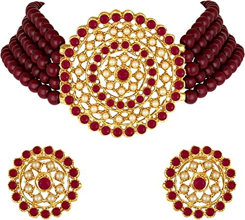 Gold Plated Pearl Diamond Choker Necklace with Round Earrings Jewellery Set Indian Traditional