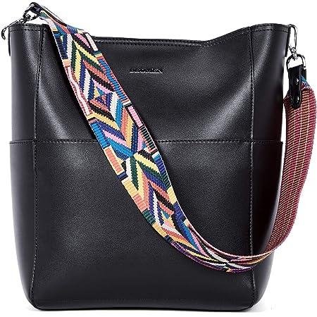 BROMEN Handtasche Damen Leder Schultertasche Umhängetasche Groß Shopper Designer Tasche mit 2 Trageriemen Schwarz
