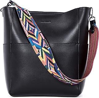 BROMEN Handtasche Damen Leder Schultertasche Umhängetasche Shopper Designer Damen Tasche mit 2 Trageriemen Groß