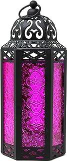 Vela Lanterns Moroccan Style Candle Lantern, Medium, Pink Glass