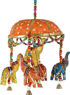 Dastkaarii Elephants Under an Umbrella Door Hanging - Yellow