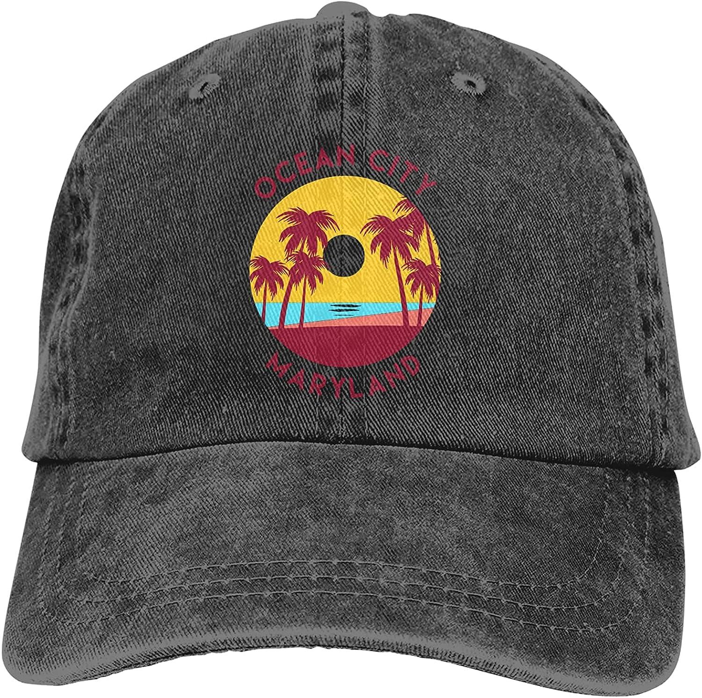 Ocean City, Maryland Hat,Adjustable Baseball Cap Washed Cotton Cowboy Hat Truck Hat Unisex