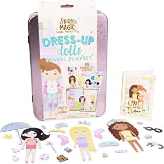 Story Magic Dress-Up Dolls Travel Playset by Horizon Group USA, Pretend Play Magnetic Case, Over 85 Magnet Outfit and Acce...