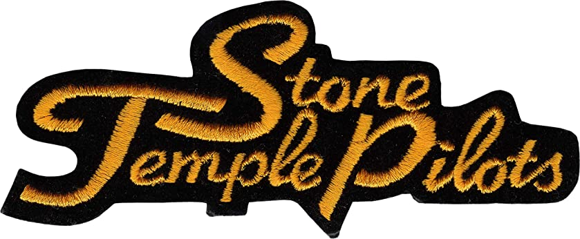 Stone Temple Pilots - Orange Logo on Black - Embroidered Iron On Patch