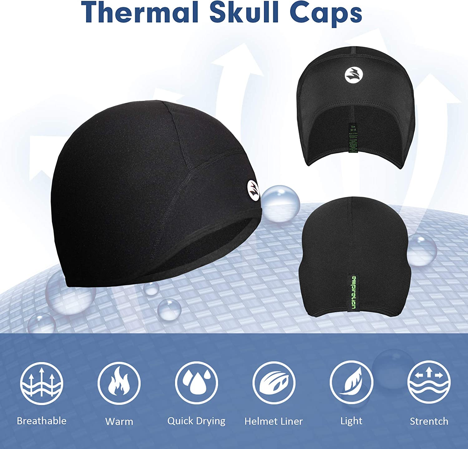 EMPIRELION Kids Lightweight Helmet Liner Teens Thin Thermal Skull caps Cover Ears Beanie Child Running Hats for Boy & Girl (Black(2 Pack):Juniors x 2) : Clothing, Shoes & Jewelry