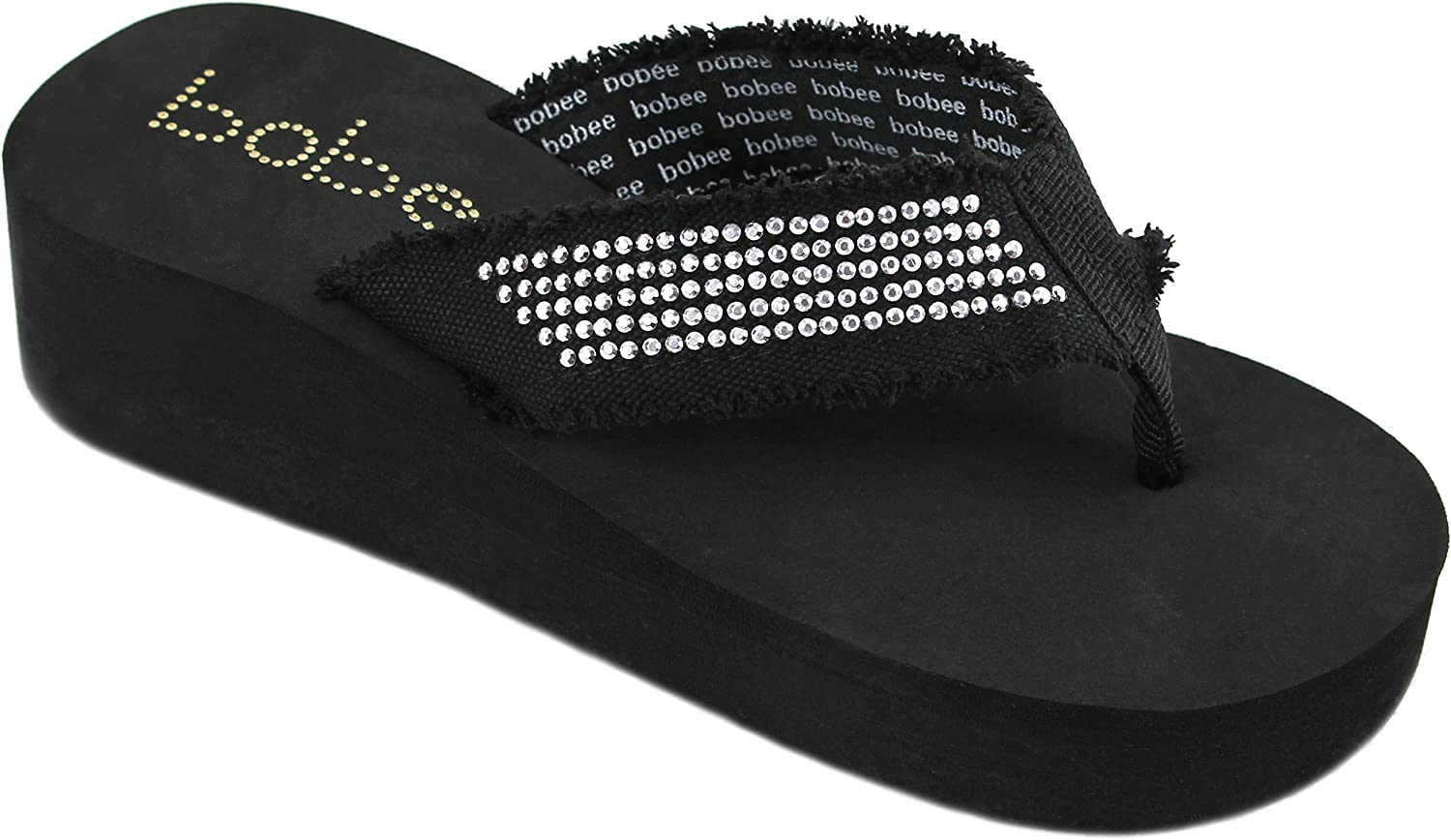 Women's Fashion Platform Wedge Thong Flip Flops Sandals (10, Black)