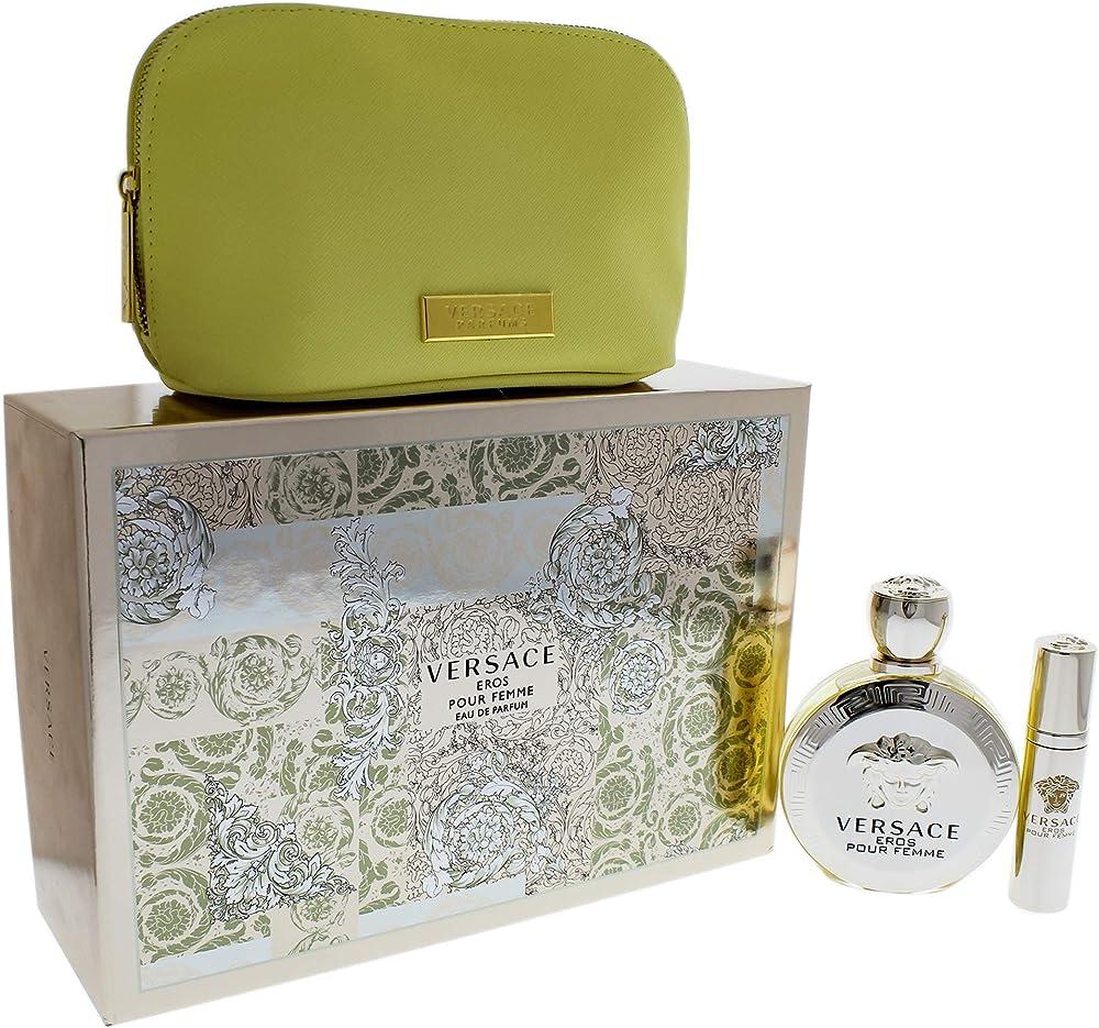 Versace,eros pour femme,kit regalo,eau de parfum 100ml + eau de toilette + pochette 8011003843749