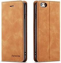 Sponsored Ad - QLTYPRI iPhone 6 Plus 6S Plus Case, Premium PU Leather Cover TPU Bumper with Card Holder Kickstand Hidden M...