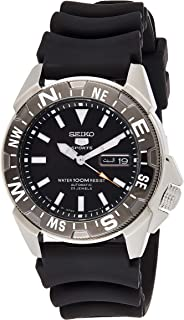 Seiko 5 Men's Black Dial Rubber Automatic Watch - SNZE81J2