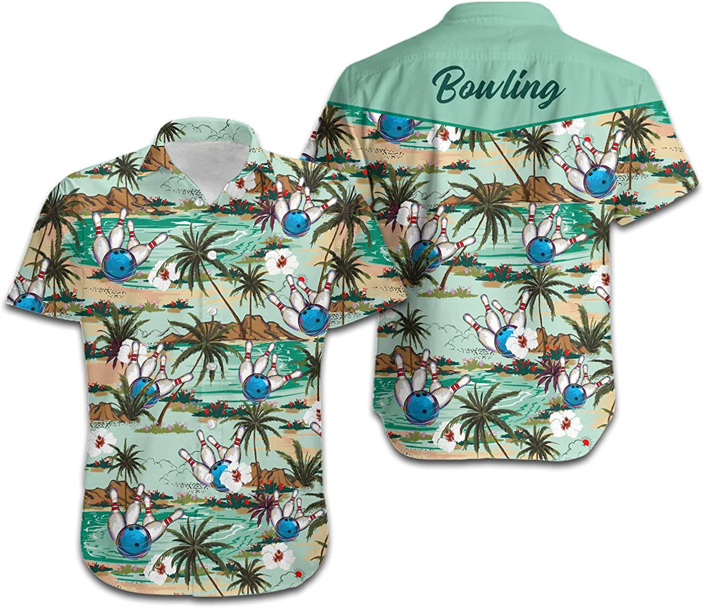 Bowling Coconut Tree and Beach Custom Name Men Hawaiian Shirt for Sport Lovers