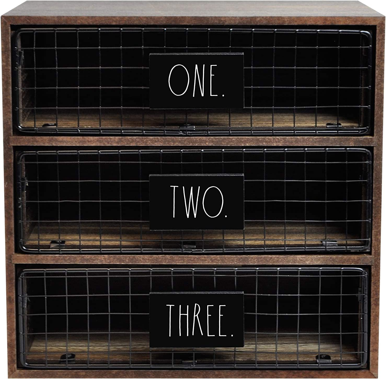 """Rae Dunn Desktop Organizer – Light Wood 3 Drawer Mail, Stationary and Letter Holder for Table Top – Chic, Stylish Craftsmanship – Rustic, Country, Farmhouse Style """"Letters"""" Print for Home and Office"""