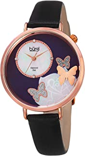 BUR158 Skinny Leather Women's Watch with Crystal Butterflies, Genuine Diamond Markers and Flower Designs on Mother of Pearl Dial – Classic Round Analog Quartz