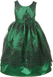 faece5137b Cinderella Couture Little Girls Green Sparkle Sequin Adorned Lace Satin Christmas  Dress 2-6