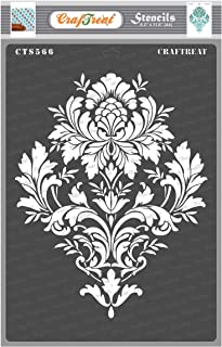 Craftreat MandalaStencils for Craft and Art - Brocade- Size A4 - Reusable DIY Stencils for Painting - Flower Stencils fo...