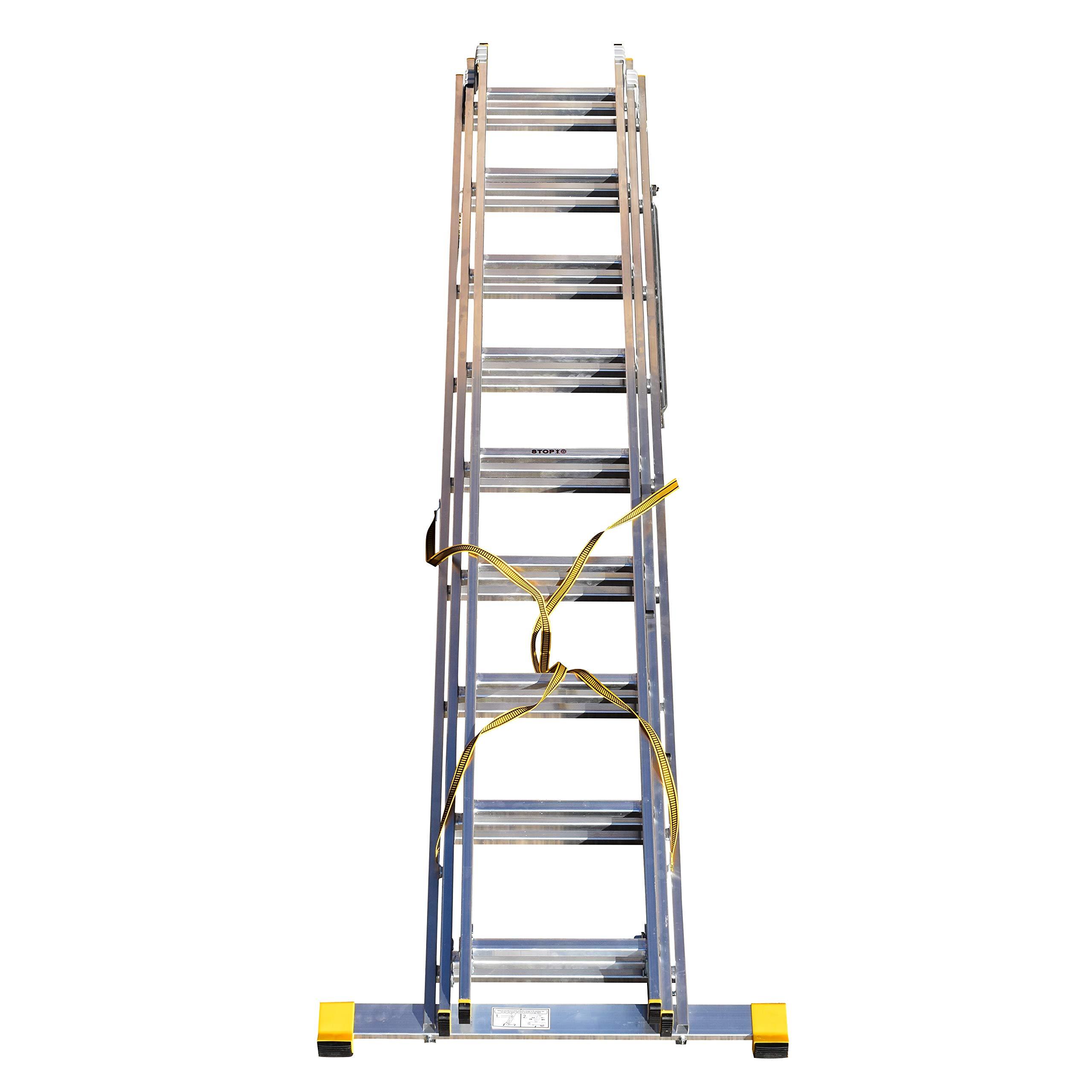 Escalera extensible de 3 secciones con estabilizador integral, 5,69 m: Amazon.es: Bricolaje y herramientas