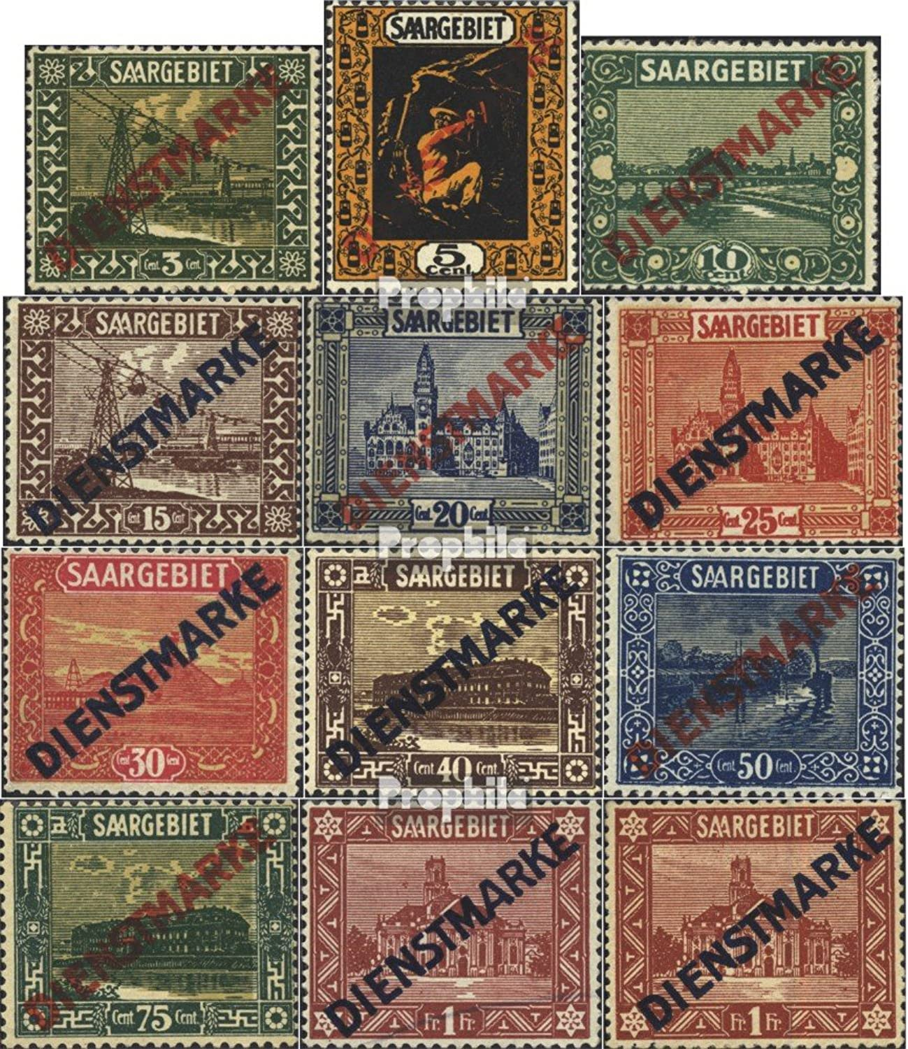 Saar D1D11 (complete.issue.) (with number. 11I and 11II) 1922 clear brands (Stamps for collectors)