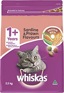 WHISKAS 1+ Years, Adult, Sardine and Prawn Dry Cat Food 2.5kg Bag, 4 Pack