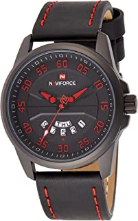 Naviforce Men's Black Dial PU Leather Analogue Classic Watch - NF9124-BRB