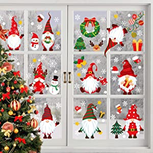 Christmas Window Clings, 9 Sheets Xmas Gnomes Window Stickers, Removable Self Clings PVC Staic Rudolph Dwarf Window Stickers for Thanksgiving Xmas Winter Decorations Party Supplies Ornaments